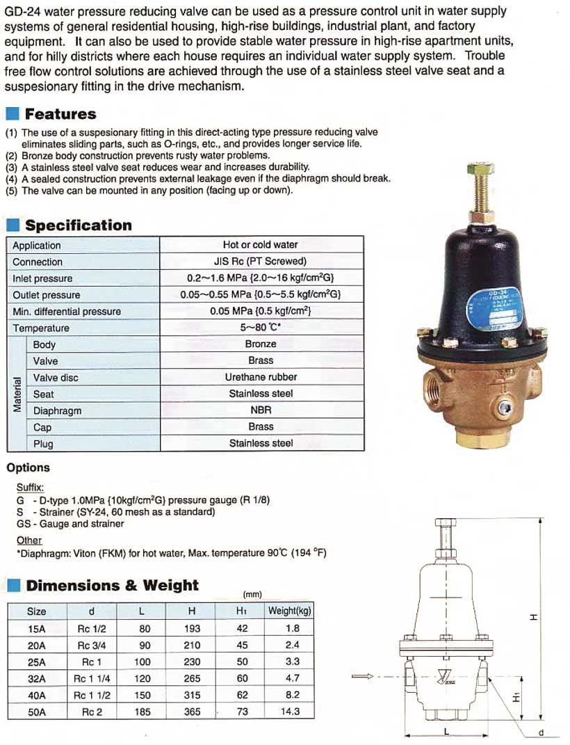yoshitake water pressure reducing valve gd 24 ud sedjati surabaya stainle. Black Bedroom Furniture Sets. Home Design Ideas